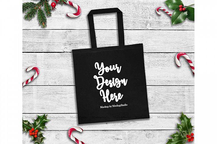 Christmas Black Tote Bag Mockup, Winter Canvas Tote Flat Lay