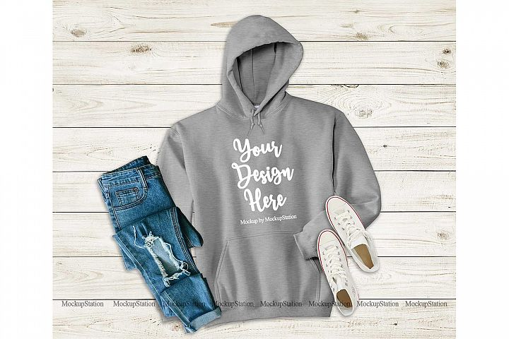 Sport Grey Hoodie Mockup, Hooded Sweatshirt Mock Up Flat Lay