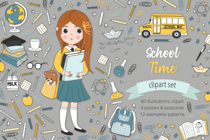School Time Illustration Set
