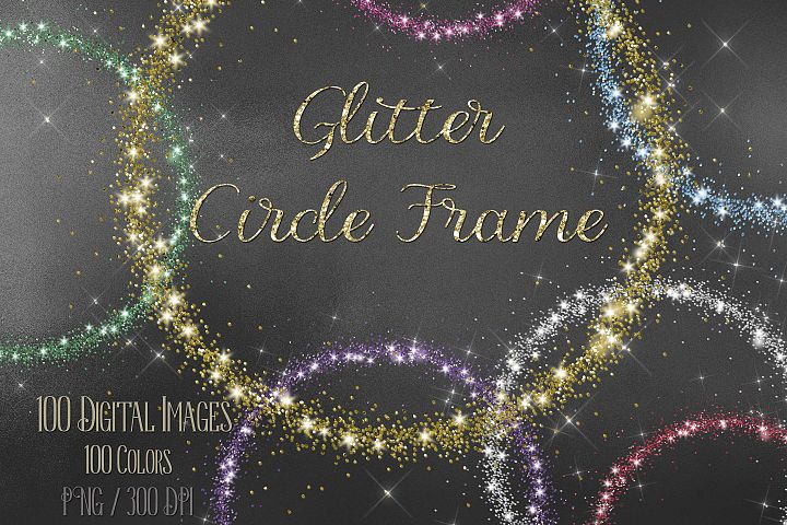 100 Glitter Particle Circle Frames Photo Frames Clip arts