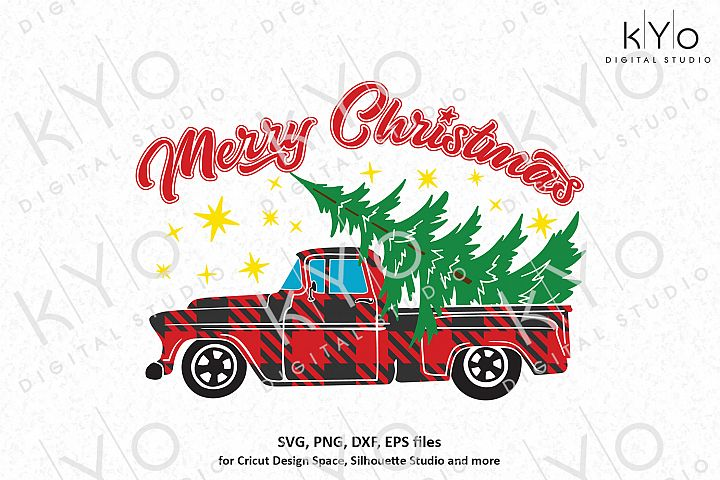 Merry Christmas Plaid Old Truck svg png dxf files