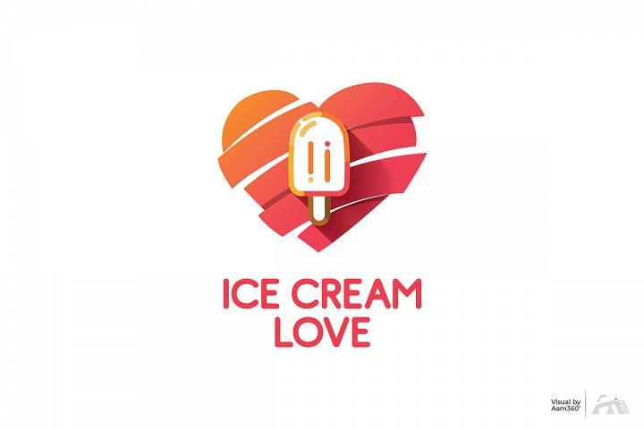 Ice Cream Love Logo Template