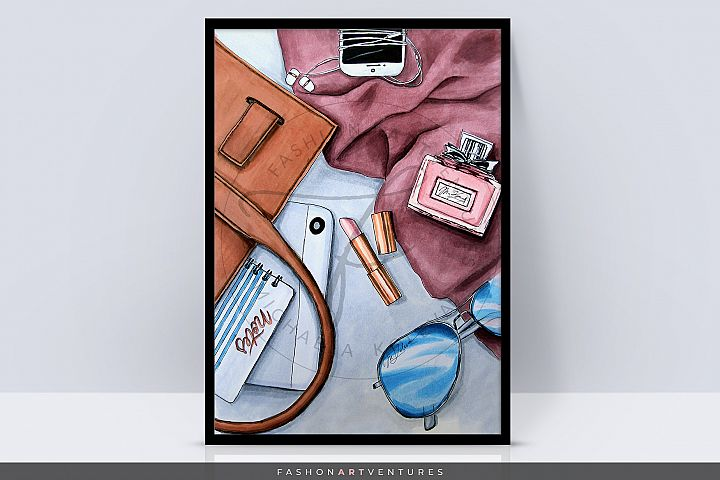 Whats in my bag-Fashion print, lifestyle art