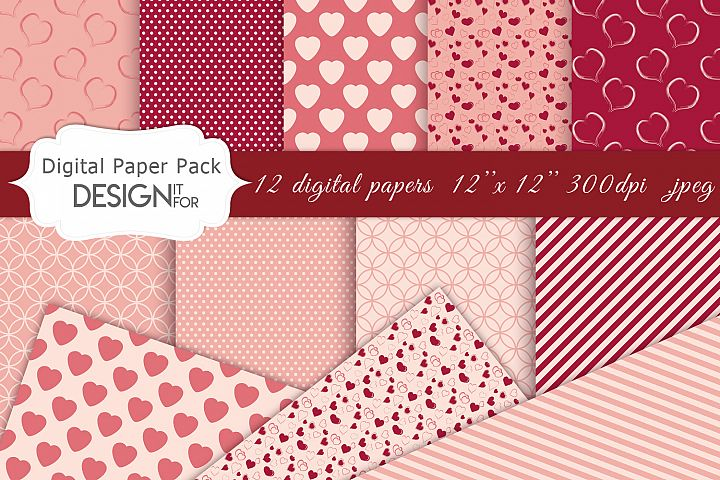 Valentines Day Digital Paper pack, love, hearts, patterns