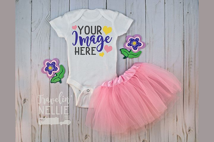 White Bodysuit Mockup One Piece Styled Baby Girl Flower Tutu