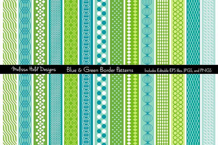 Blue & Green Mod Border Patterns