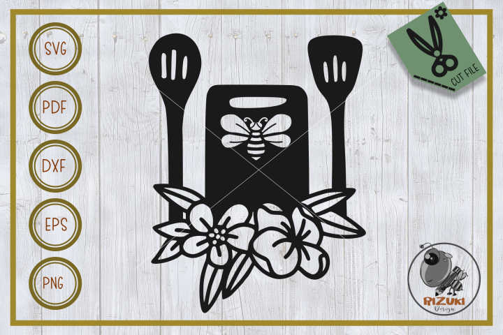 bee svg file, bee with flower and kitchen set, cut file