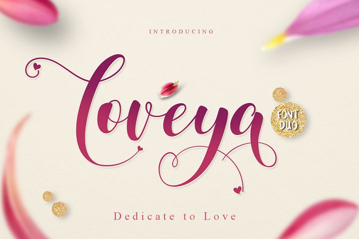 Loveya Script (Font Duo + Extras) example