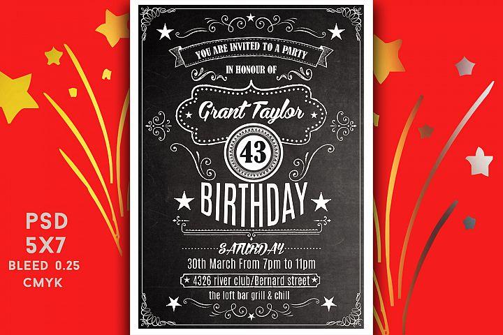Chalk Board Birthday Invitation