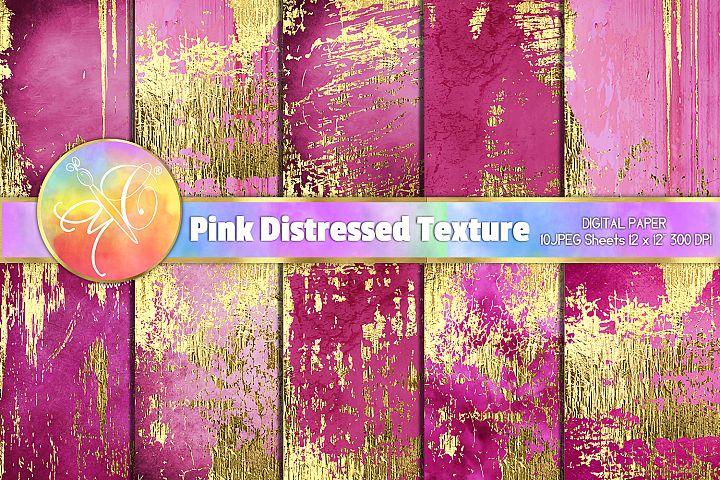 Pink Distressed Digital Paper, Gold Foil Distressed Texture