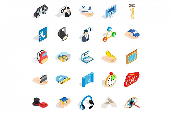 Film business icons set, isometric style