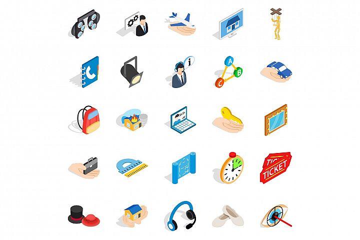 Film business icons set, isometric style