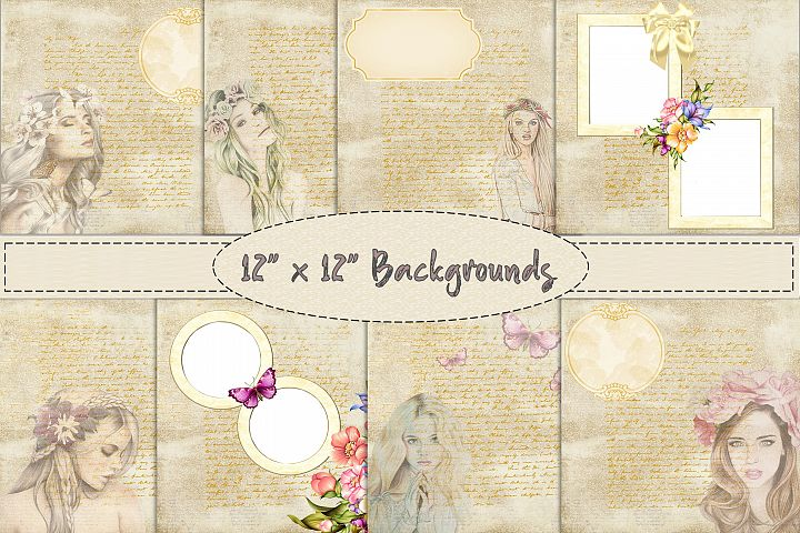 Vintage scrapbook Sheets 12 x 12 Backgrounds JPEG and PDF