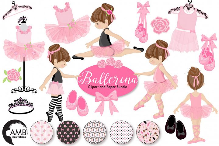 Ballerina clipart and paper BUNDLE, graphics and illustrations AMB-130678
