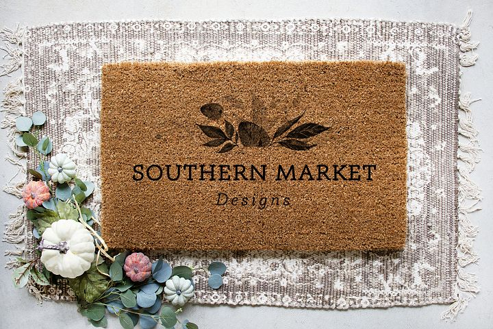 Fall Blank Door Mat Mock Up Photo Stock Photography