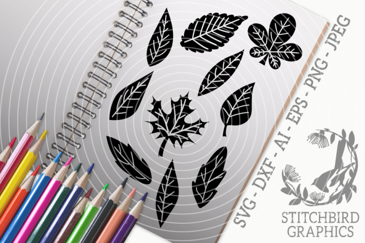 Woodland Leaves SVG, Silhouette Studio, Cricut, Eps, Dxf, AI