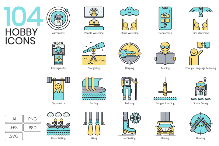104 Hobby Icons Aqua Series