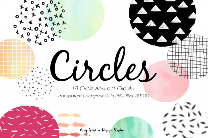 18 Hand Drawn Circles Abstract Clip Art Bundle