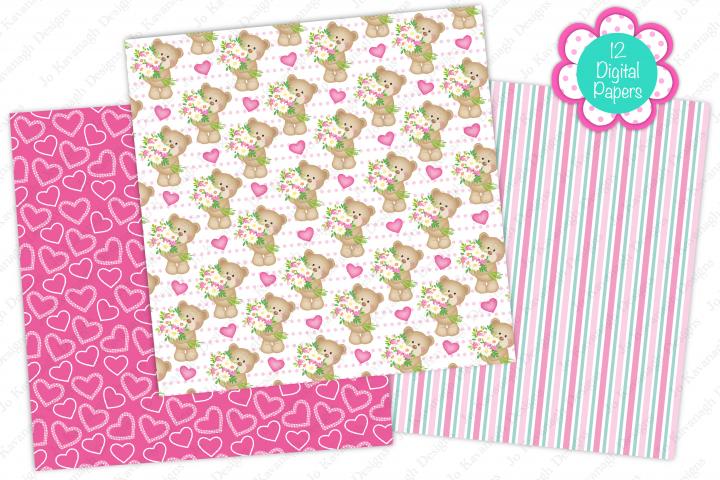 Cute bear digital papers, Cute bears, Floral, Butterfly example 1