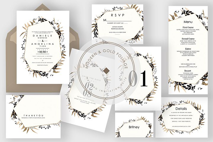 Modern & Gold Foliage Wedding Suite