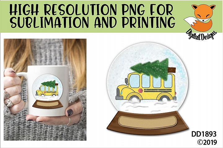 School Bus Driver Snowglobe PNG for Sublimation