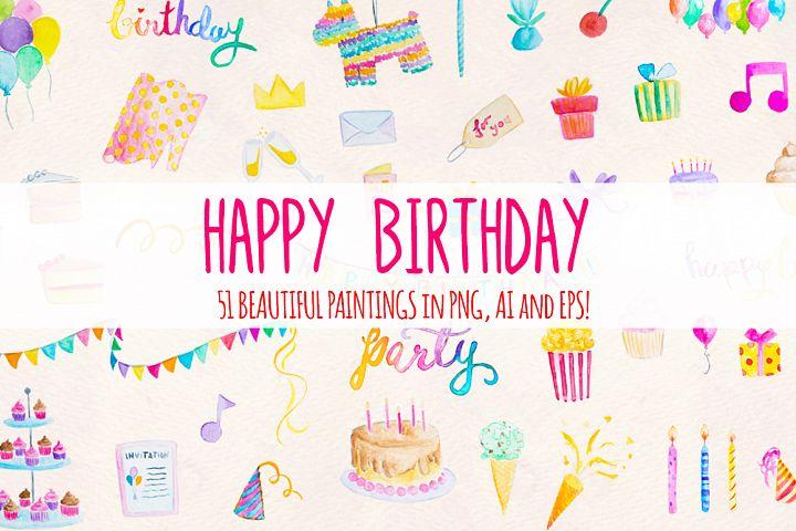 51 Happy Birthday Cute Watercolor Party Elements