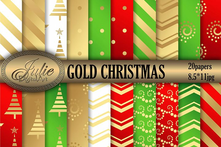 Gold Metallic Christmas background 8, 5 x 11 inch