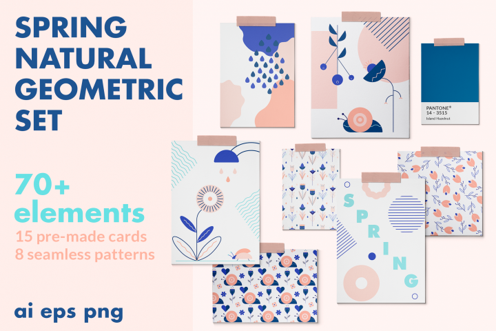 SPRING natural geometric set