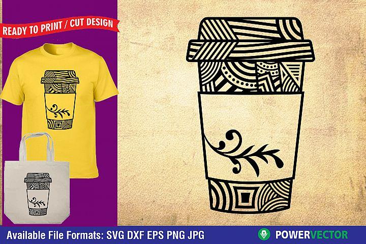 Coffee Zentangle| Mandala Printable Design