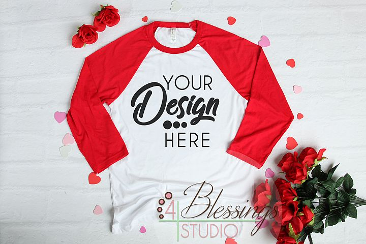 Valentine Raglan Shirt Mockup Bella Canvas 3200 Baseball
