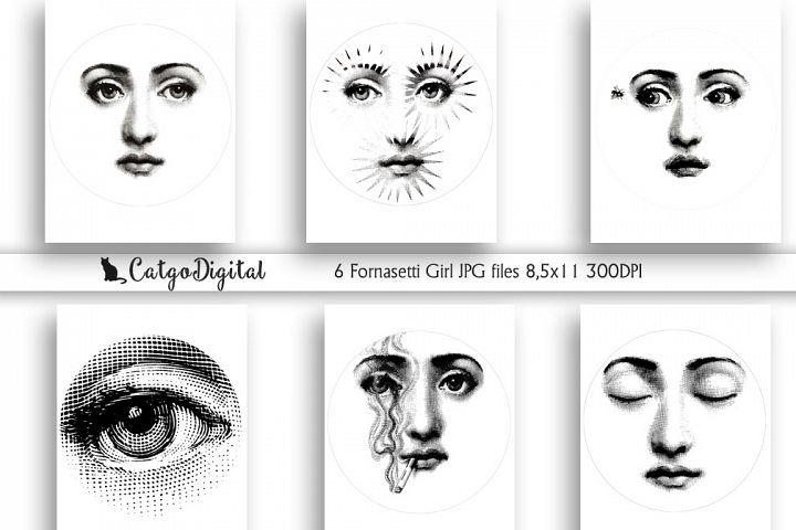 Fornasetti girl Black and White illustrations JPG file Lina