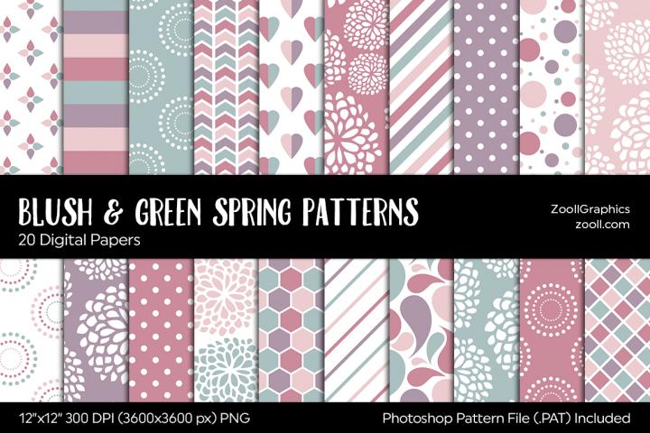 Blush & Green Spring Digital Papers