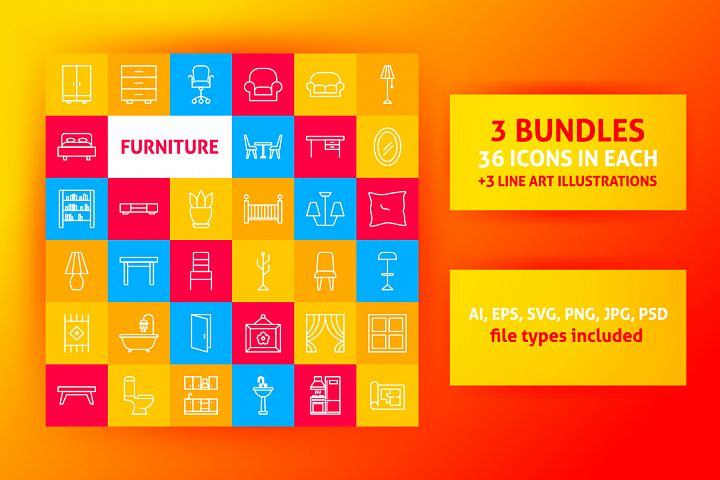 Furniture Line Art Icons