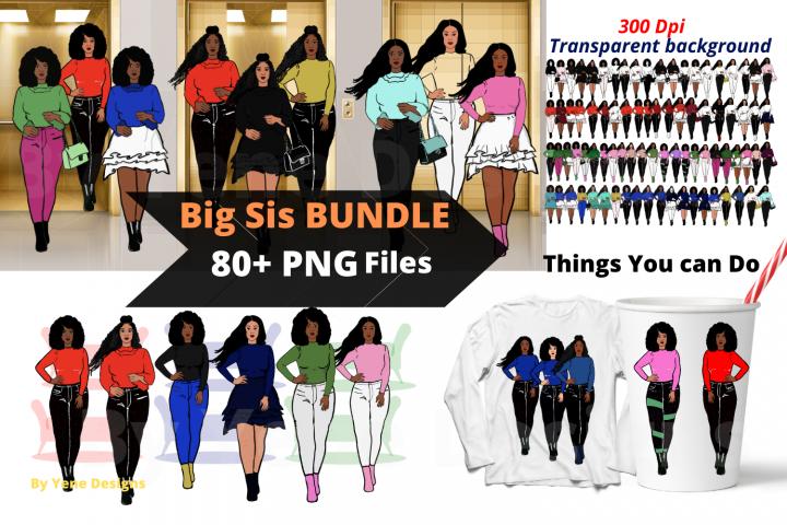 Afro lady Clip art, Big sis bundle, black girl, Afro clipart