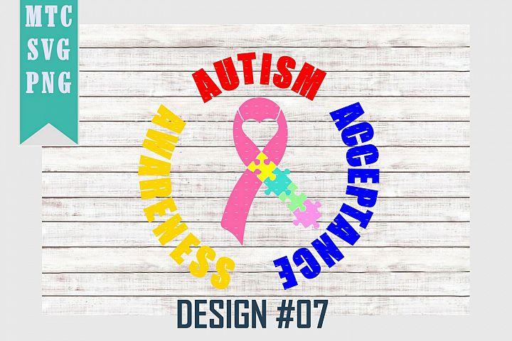Autism Ribbon Puzzle Awareness Design #07 SVG Cut File