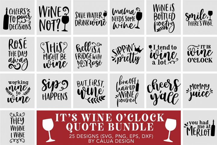 Wine Lovers Quote SVG Cut File Bundle