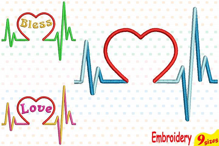 Heart Pulse Line Embroidery Design Machine Instant Download Commercial Use digital file icon symbol sign Nursing Nurse love bless 158b