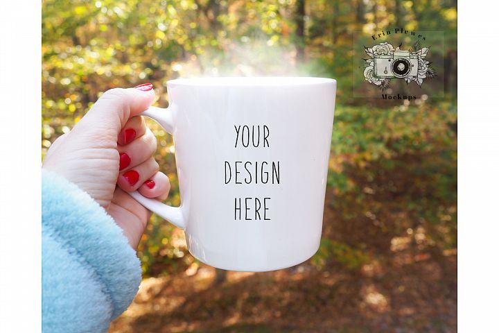 11oz White Coffee Mug Mockup  Woman Holding Mug Mock-Up