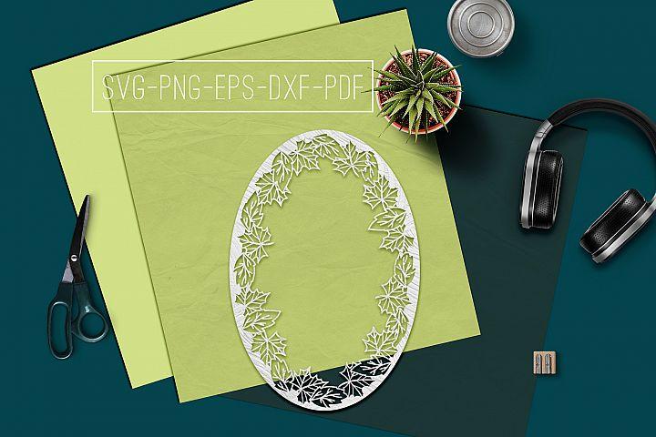 Fall Frame Papercut Template, Fall Decor, Leaves SVG, PDF