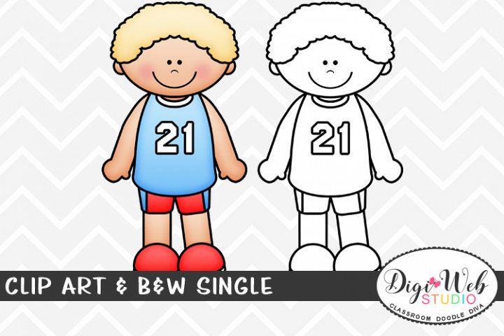 Clip Art & B&W Single - Track Runner - Sports Boy