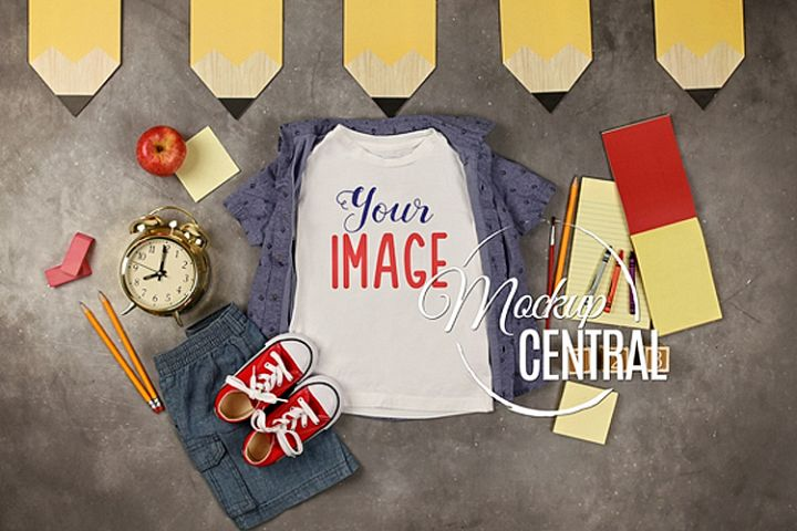 Boys T-Shirt School Mockup, Kindergarten Child Shirt JPG