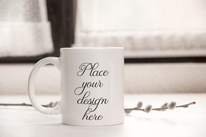 White coffee cup template mug mock up rustic easter mockup