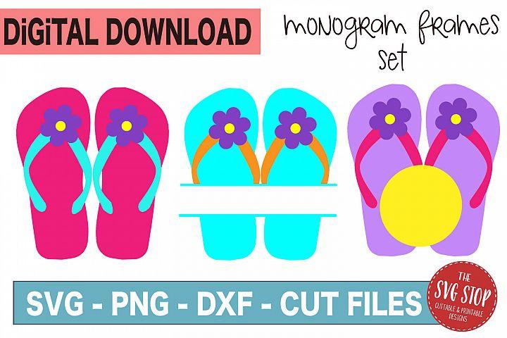 Flip Flop Monogram Frames - SVG, PNG, DXF