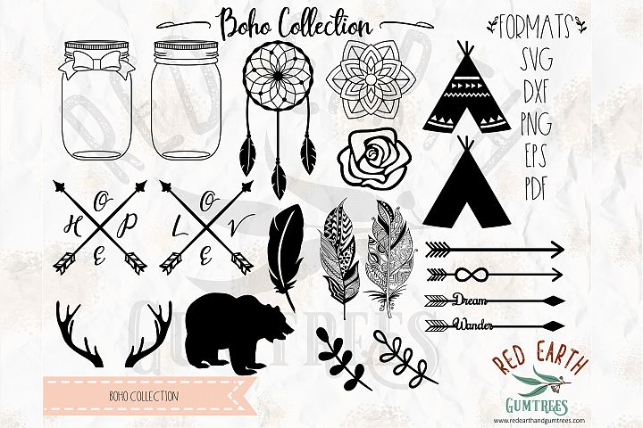Boho bundle, woodland, teepee in SVG, DXF, PNG, EPS formats