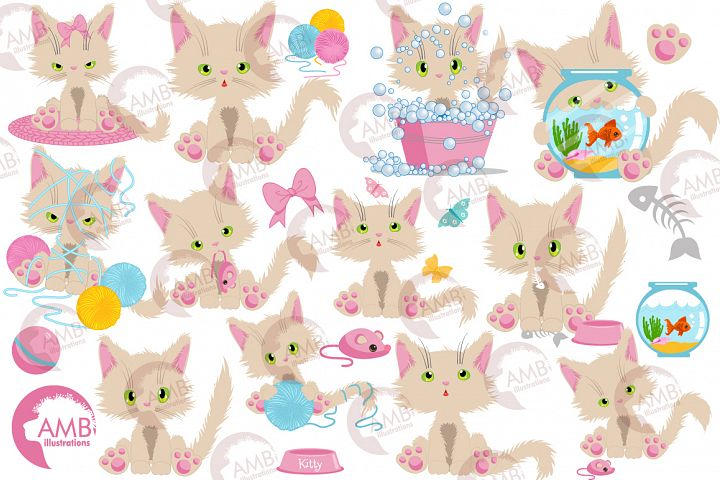 Cream cats, beige cats, girl cat Clipart AMB-2654