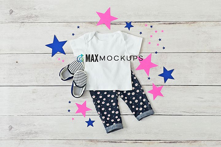 Kids shirt mockup, cute girls flatlay, styled stock photo