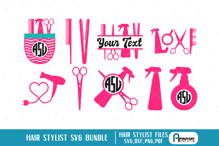 Hair Sylist SVG Cut Files Bundle - Hair Stylist Monograms