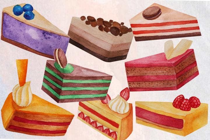 Cake Slices Watercolor Clip Art