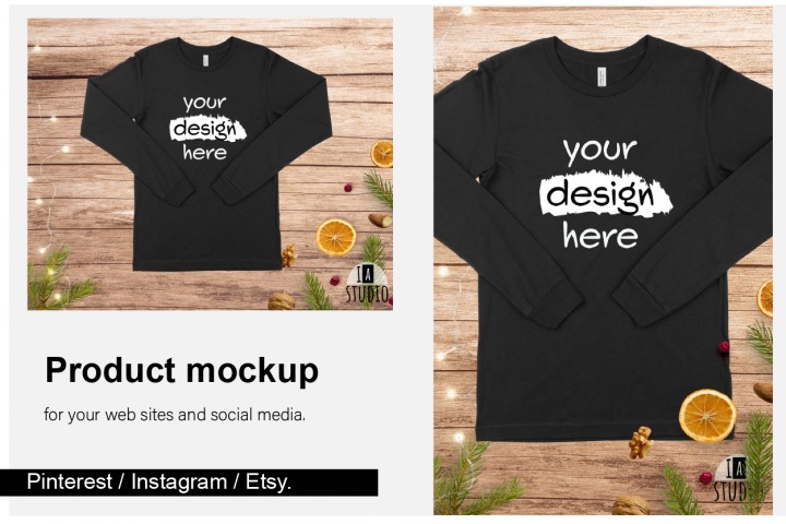 Christmas Long Sleeve Tee Mockup / Bella Canvas 3501 / Black