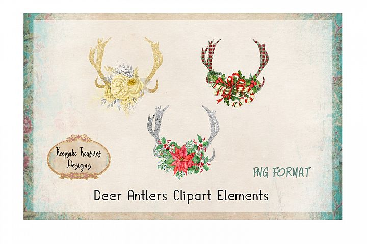Glitter Deer Antlers Clipart Elements